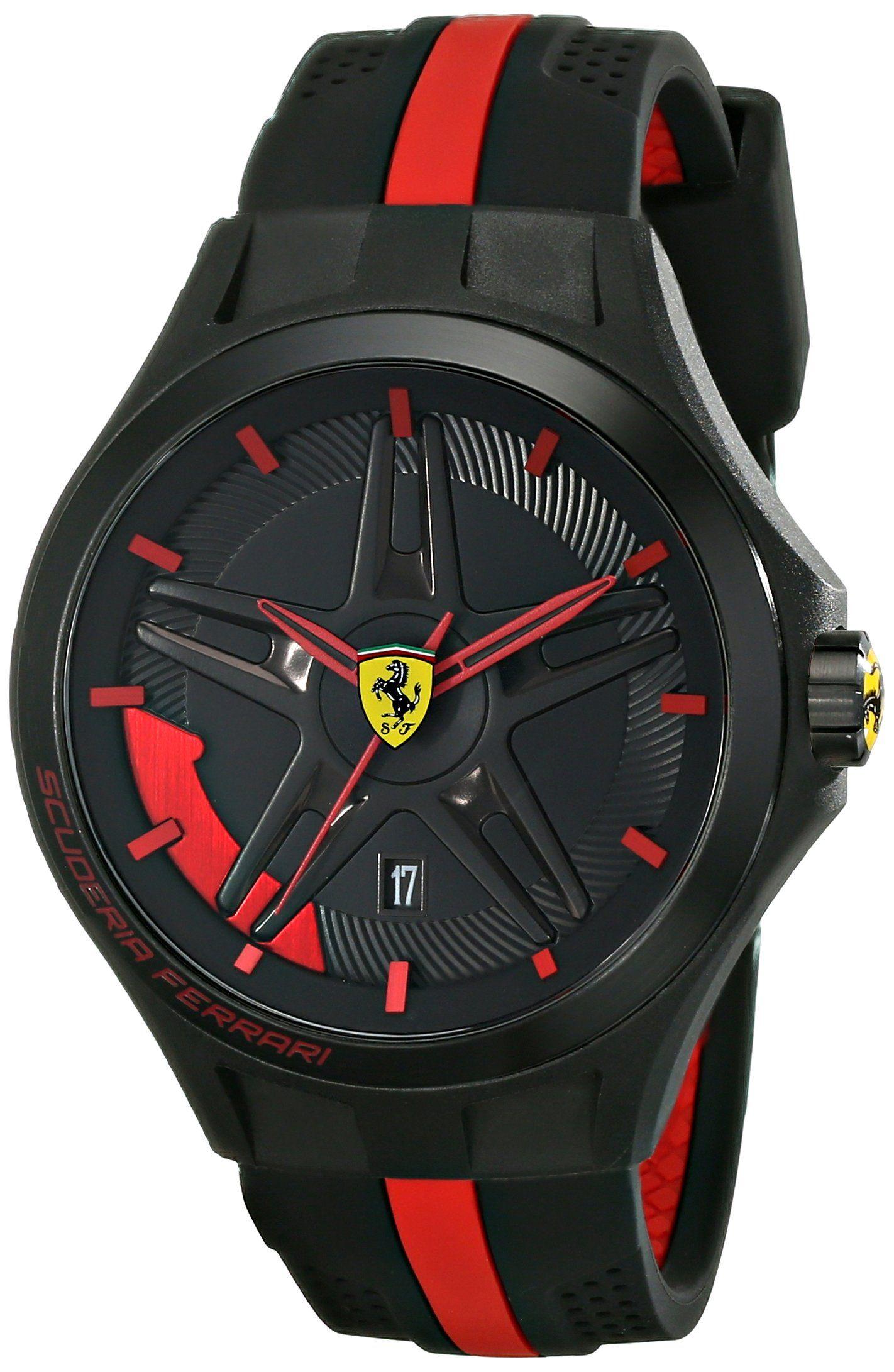 Amazon Com Ferrari Men S 0830160 Lap Time Black And Red Watch Ferrari Watches Ferrari Watch Watches For Men Military Watches