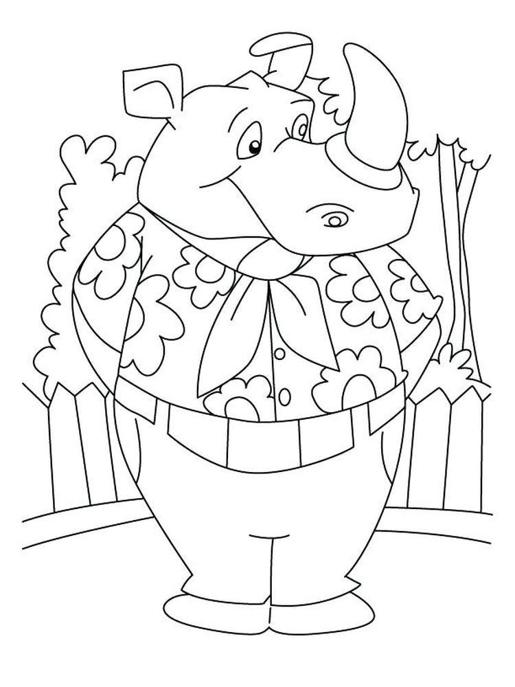 Free Rhino Coloring Pages Rhinoceros Are Large Mammals With One