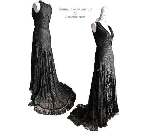 Dress art nouveau, size S/M, edwardian, twenties, macabre, halloween, Somnia Romantica by Marjolein Turin