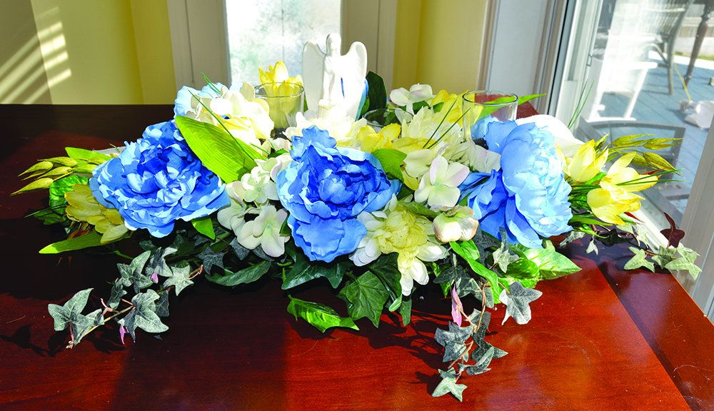 Spring Memorial Silk Artificial Blue Peonies Ceramic Angel Glass Votive Holder Ivy White Hydrangeas Cemetery Headstone Saddle Yellow Tulips #bluepeonies