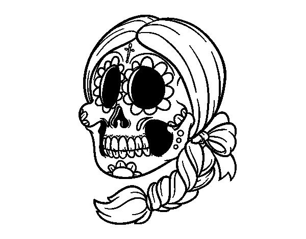 Dibujo De Calavera Mejicana Con Trenza Para Colorear Ilustraciones Del Craneo Calaveras Mexicanas Para Colorear Dibujo De Calavera