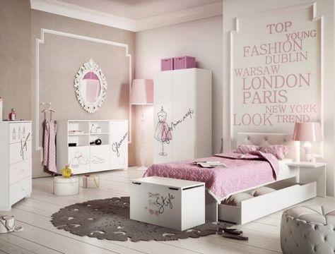 Kinderzimmer Wandgestaltung Ideen Maedchen Creme Rosa Schrift Modestaedte
