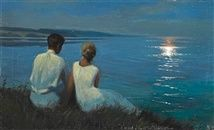 Moonlight. A young well dressed couple watching the moon shining on the surface of the water by Harald Slott-Möller