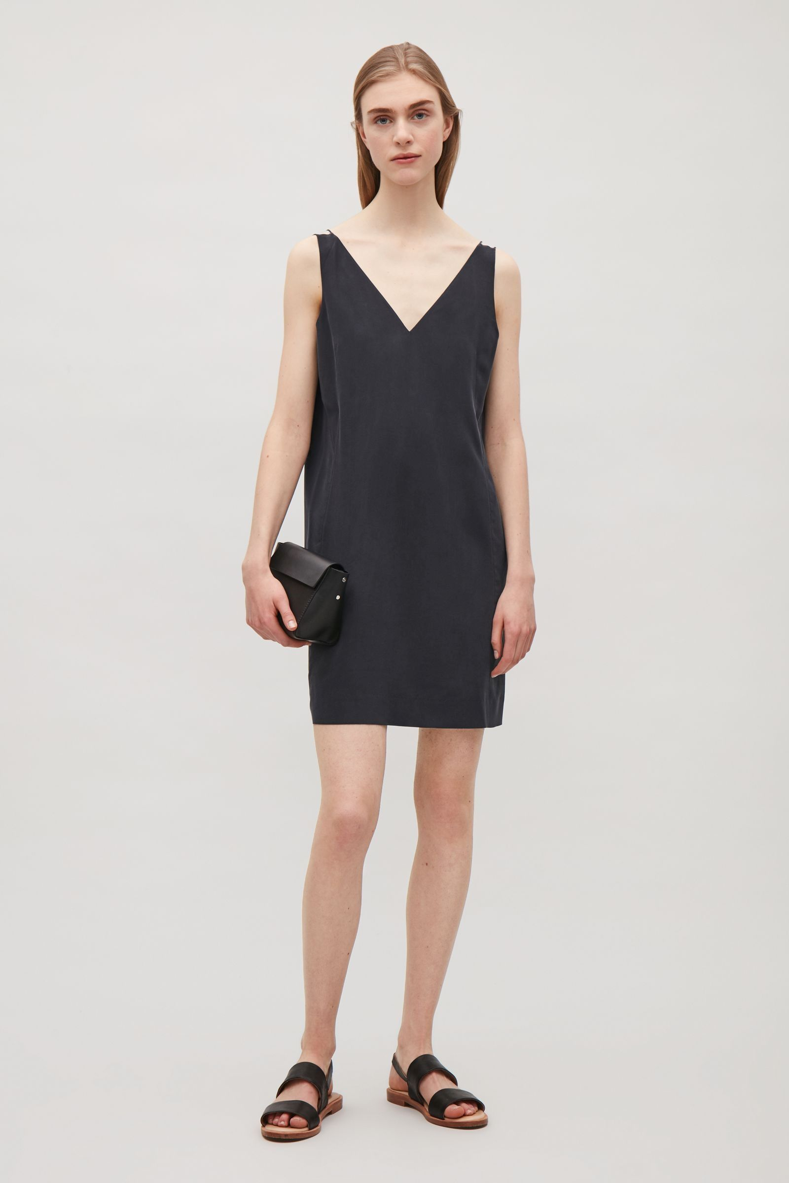 COS image 4 of Silk dress with deep v-neck in Navy