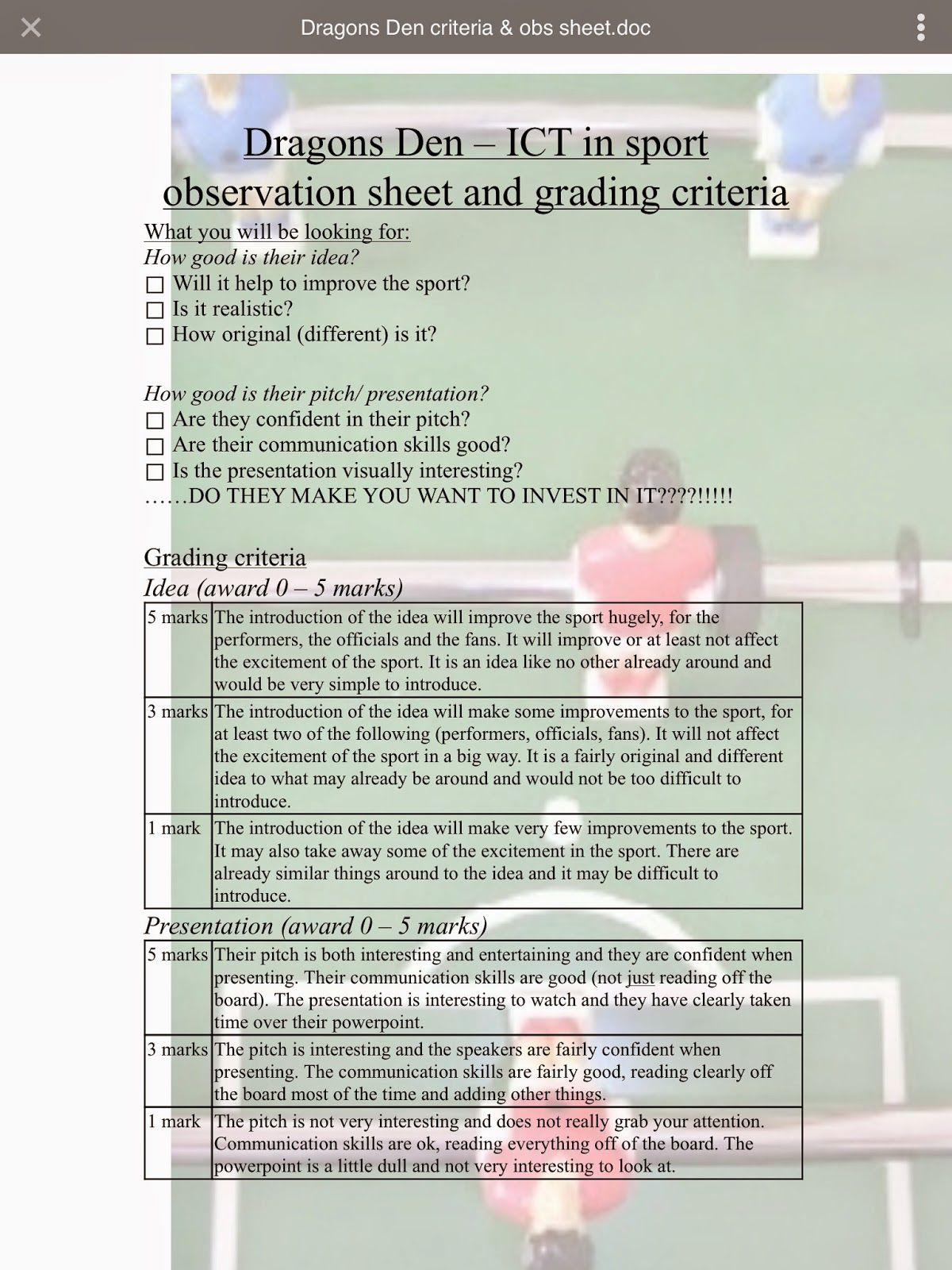 Gcse Pe Theory Lesson Ideas