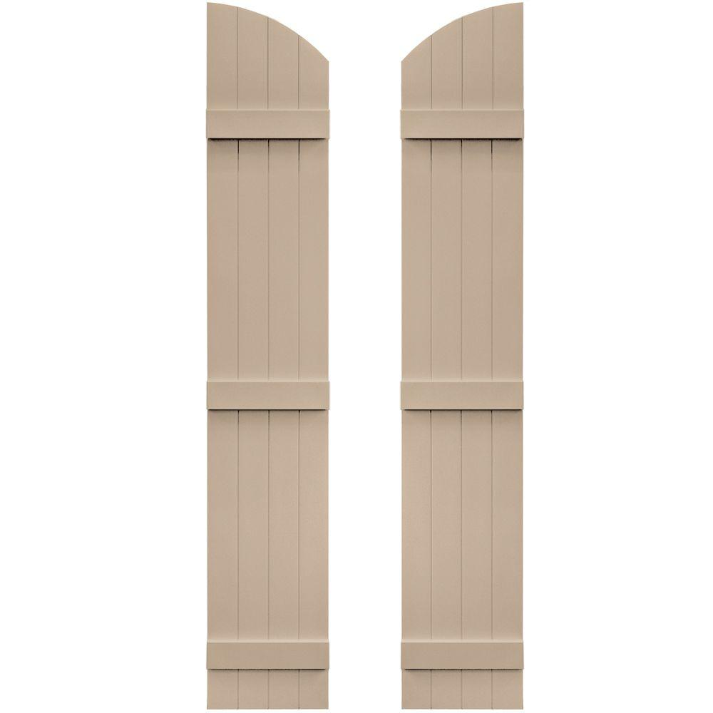 Builders Edge 14 in. x 77 in. Board-N-Batten Shutters Pair, 4 Boards Joined with Arch Top #023 Wicker, 023 Wicker