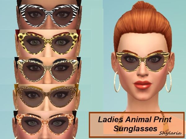 The Sims Resource: Ladies Animal Print Cats Eye Sunglasses by Shylaria • Sims 4 Downloads