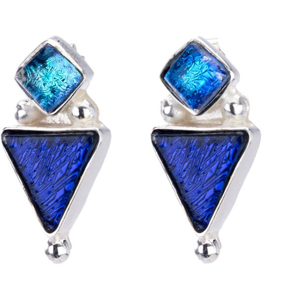 Cobalt Triangle Silver Earrings (805 CZK) ❤ liked on Polyvore featuring jewelry, earrings, silver triangle earrings, nickel free earrings, triangle jewelry, post earrings and aqua jewelry