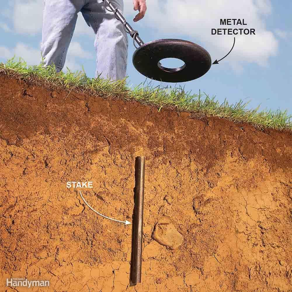 how to use a metal detector to find property pins