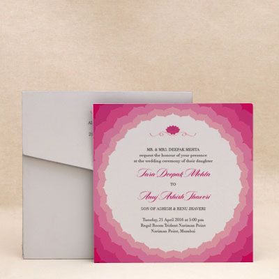 Blooming Lotus Wedding Invitation Cards , E-Card Designs