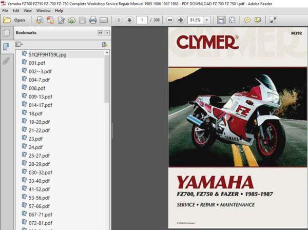 Yamaha Fz700 Fz750 Fz 700 Fz 750 Complete Workshop Service Repair Manual 1985 1988 Pdf Download Repair Manuals Repair Preventive Maintenance