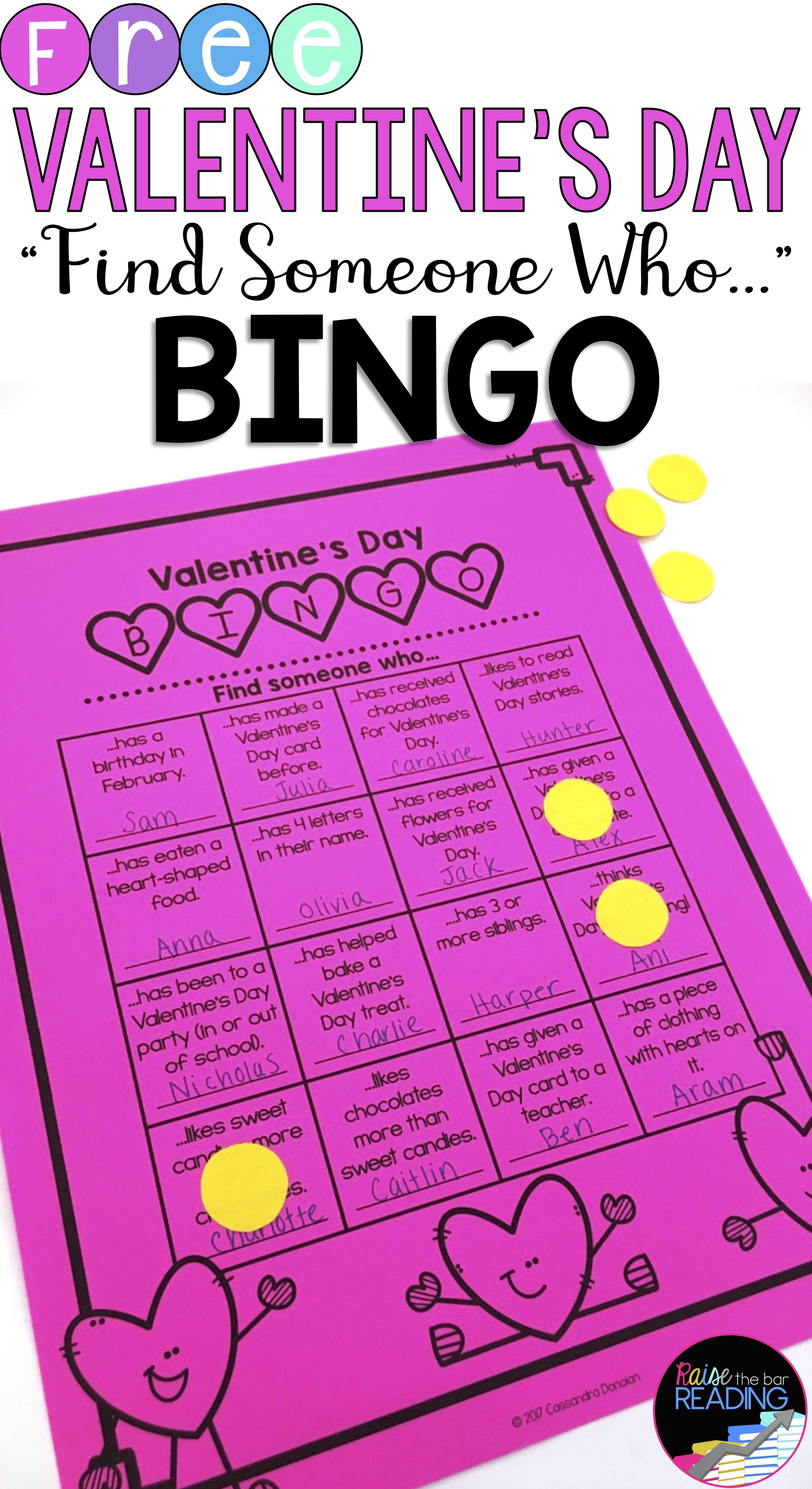 Free Valentine S Day Activities Valentine S Day Bingo Find Someone Who