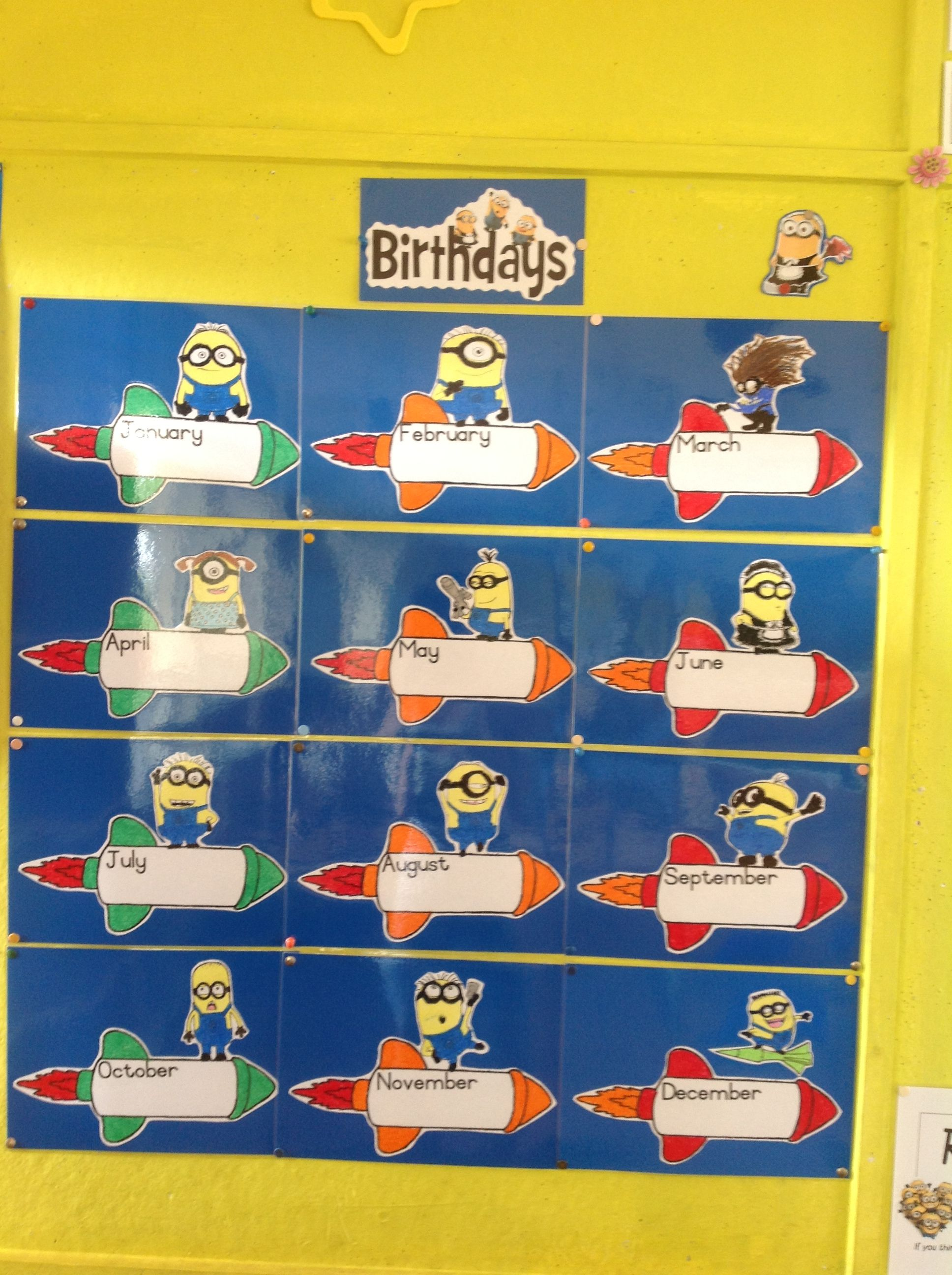Minion themed classroom - birthday chart | School ...