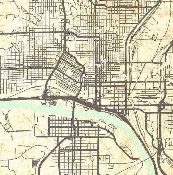 SIOUX CITY Canvas Print Iowa City IA Vintage By NatalyBorichArt - Map of iowa city