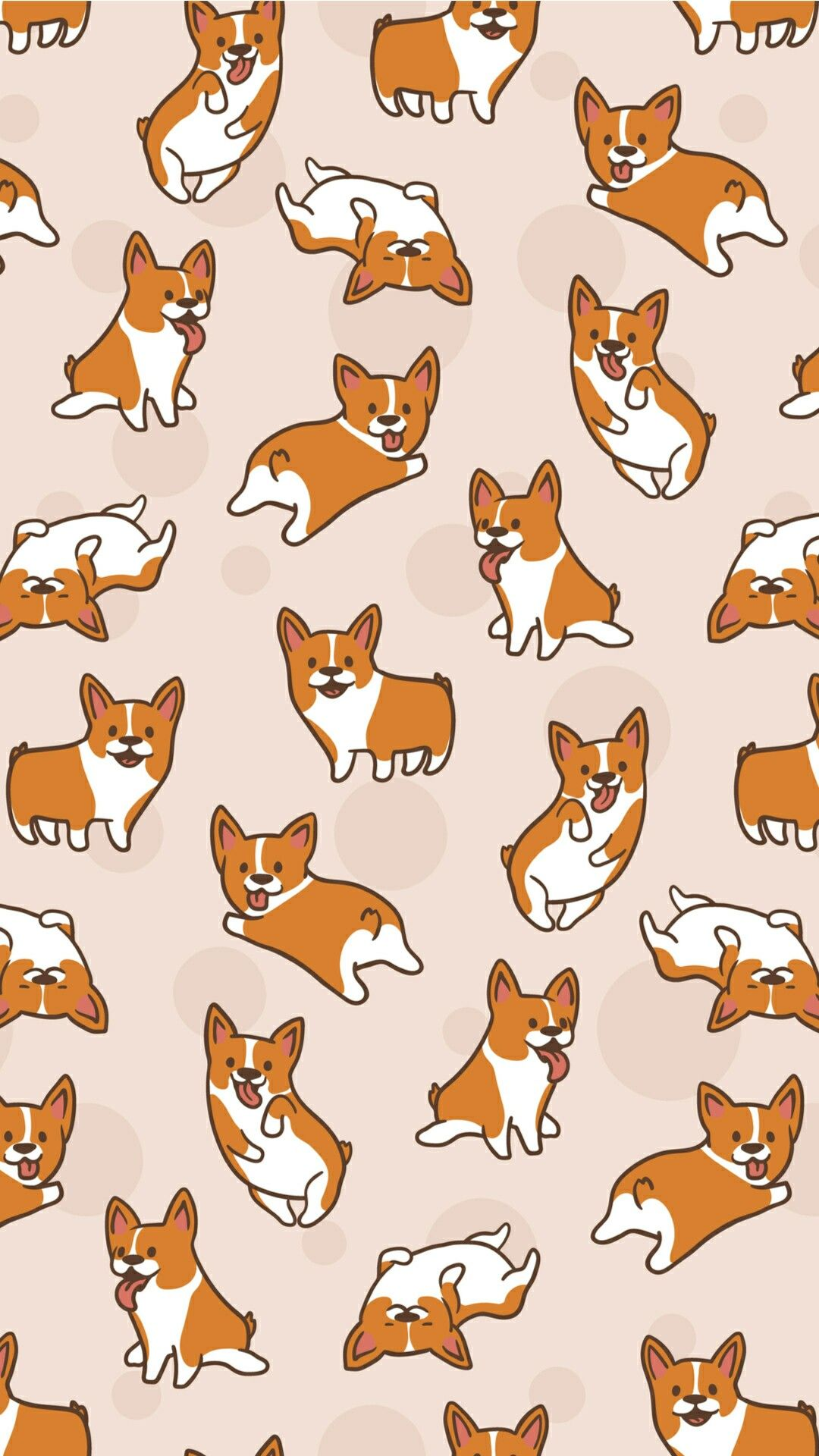 Beige corgi print | Cute cartoon wallpapers, Corgi ...