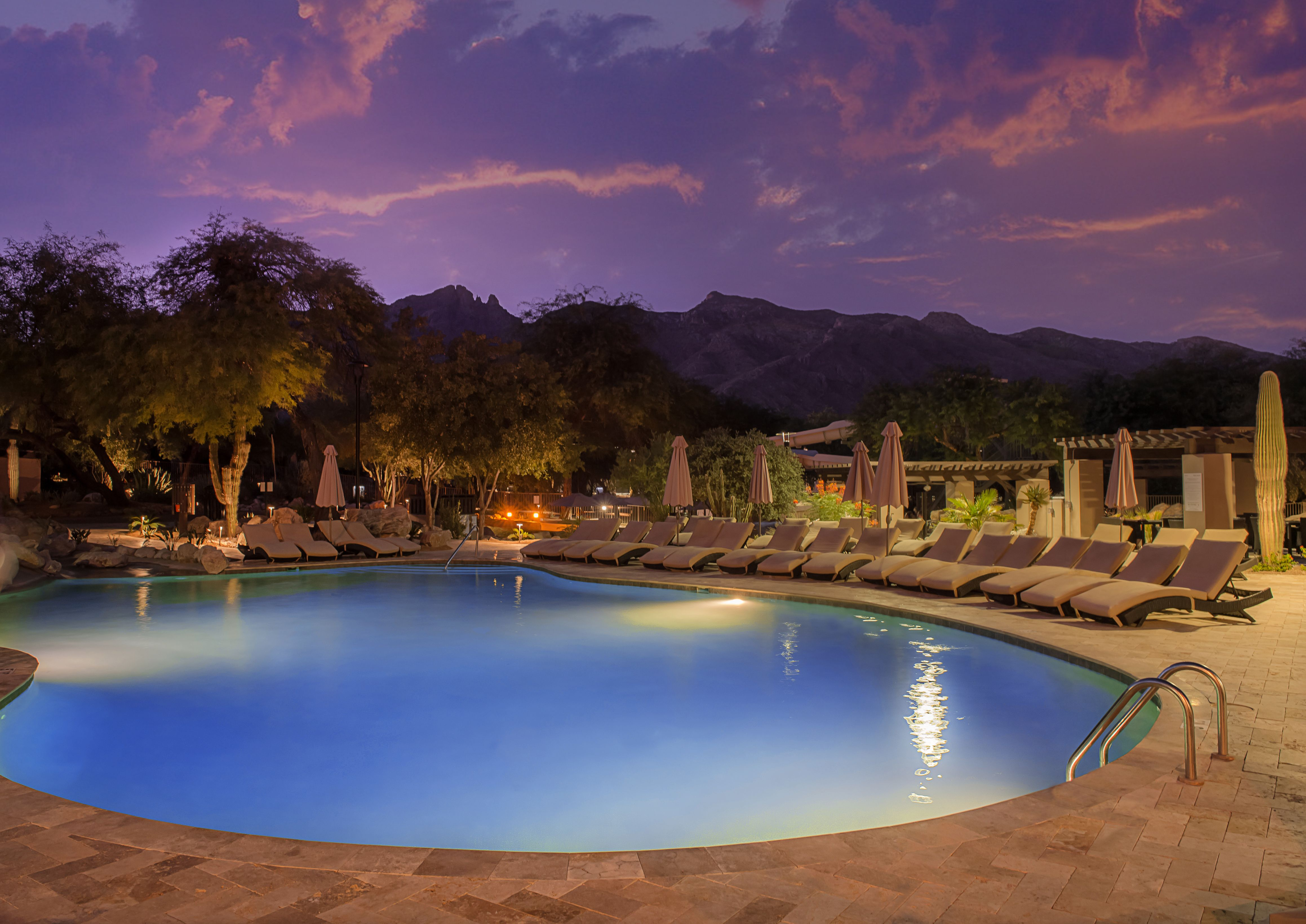 pool at sunset | the westin la paloma resort & spa | tucson for