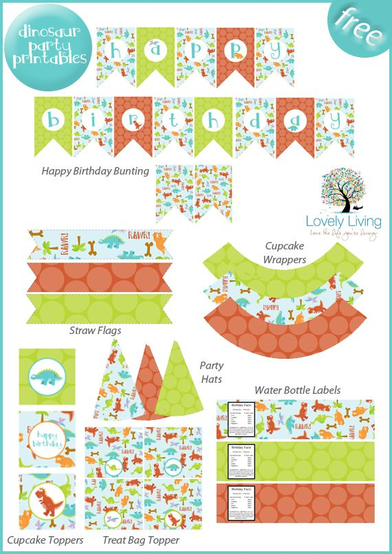 image about Free Printable Birthday Decorations known as Freebie Friday: Cost-free Dinosaur Social gathering Printables Birthday