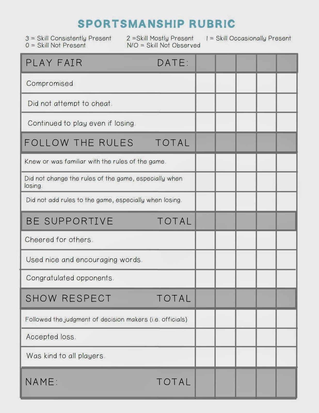 Floor Hockey Worksheet For Students