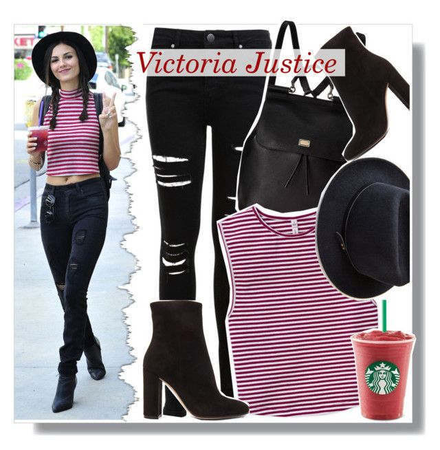 """Victoria Justice in striped crop top"" by anne-mclayne ❤ liked on Polyvore"