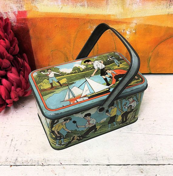 7cfd362cd2fc Antique Lunch Box Style Tin, Boys Playing Campfire Sailboats Archery ...