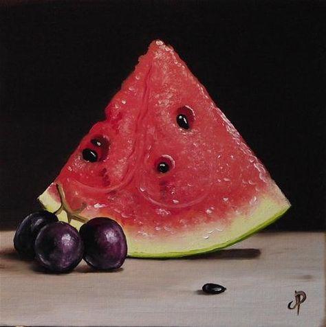 """Watermelon with grapes"" - Original Fine Art for Sale - � Jane Palmer"