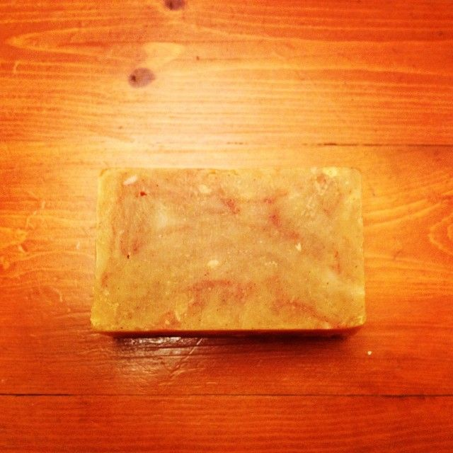 """All natural 3 butter hot process soap scented with lemon and orange essential oils and colored with turmeric and paprika. Rustic, simple, luxurious.…"""