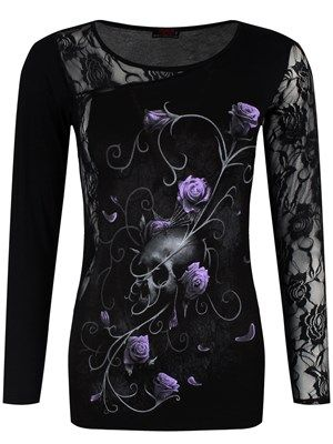 Spiral Skull Rose Lace One Shoulder Top Black