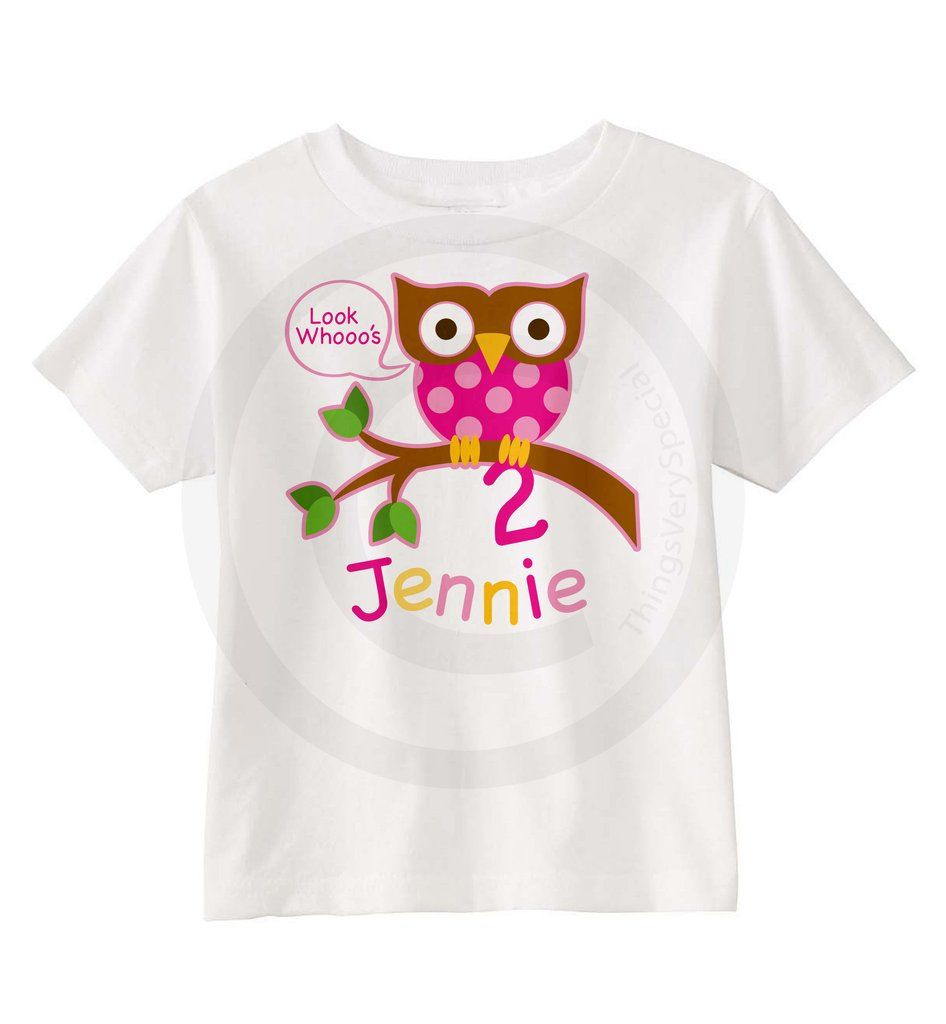 Owl Second Birthday Shirt For Girls Personalized With Her Name And Age 02022014c