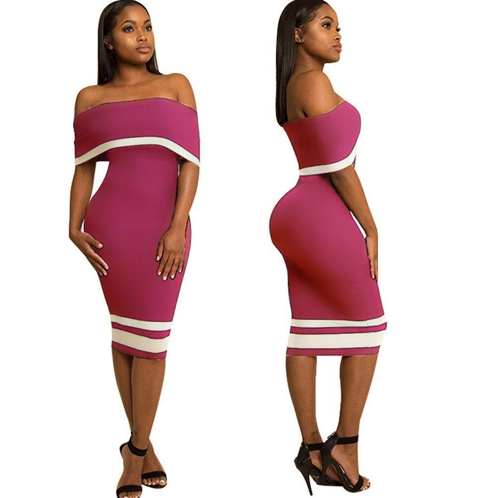 9256468021e2 Off Shoulder Color Block Short Sleeves Knee-length Bodycon Dress ...