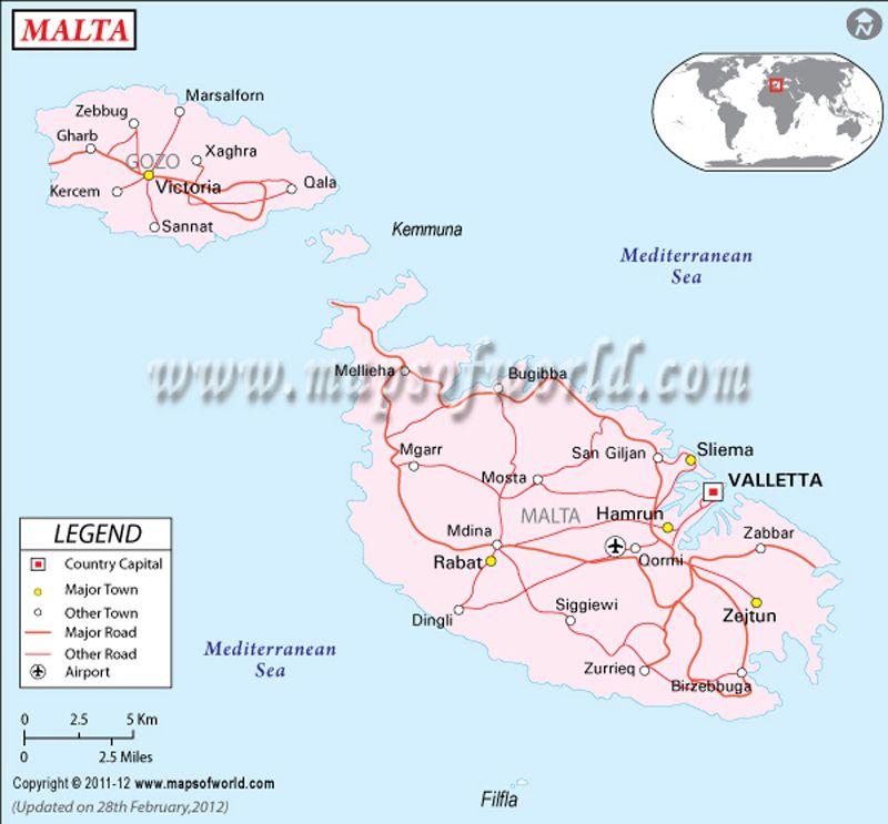 Malta Map Maps Pinterest Malta - new world map fiji country