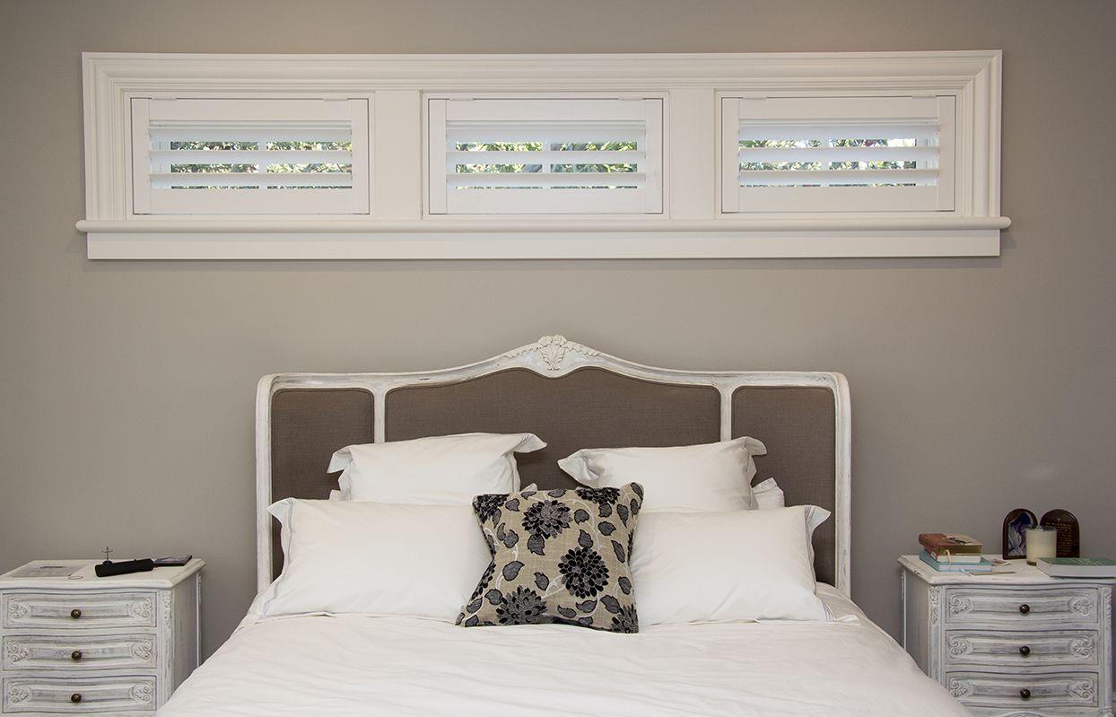 Basement Bedroom Window Style Property Plantation Shutters For A Long Narrow Window #windowtreatments .