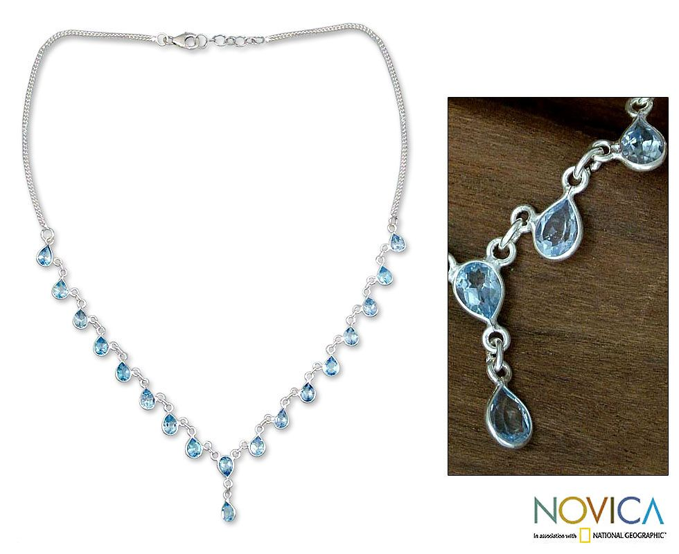 Blue+topaz+waterfall+necklace,+'Raindrops'+at+The+Animal+Rescue+Site