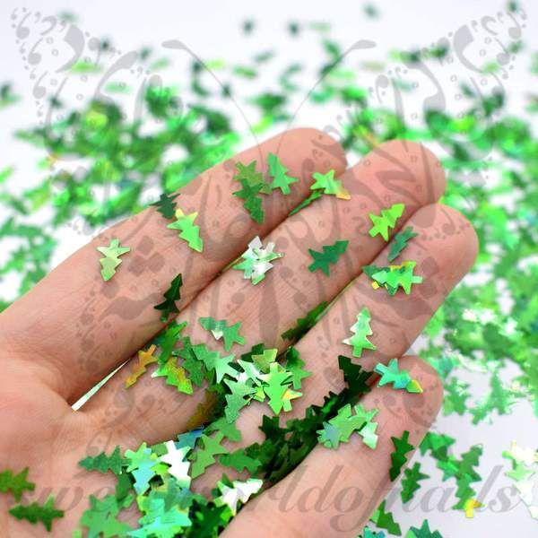 Christmas Nails Green Tree Confetti   Decoración de uñas, Años ...