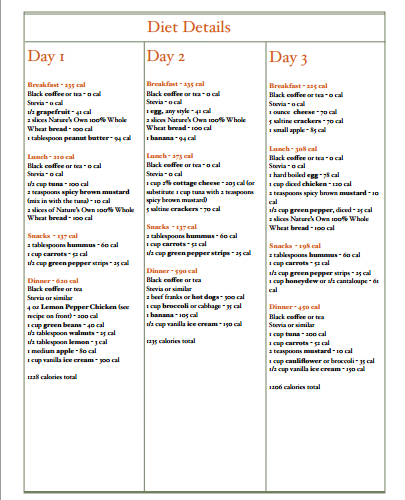 printable 3 day diet