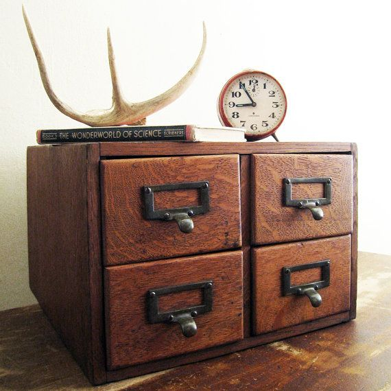 Wood+Card+Catalog++Antique+Desktop+Four+Drawer+by+twentytimesi,+$ ...