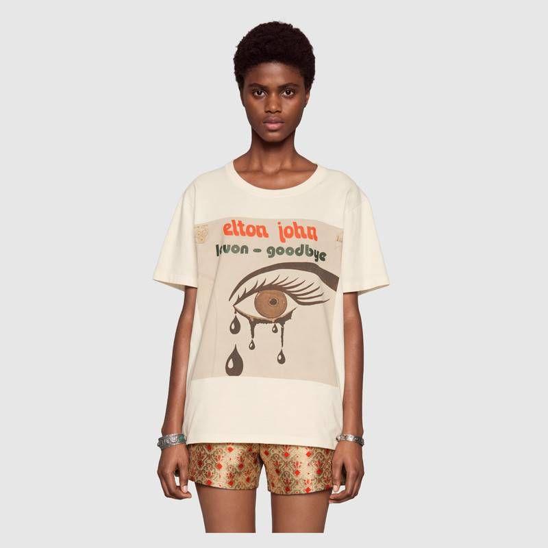 257a6f0a14ed Oversize Gucci Elton John T-shirt   Working   Shirts, Gucci men, T shirt