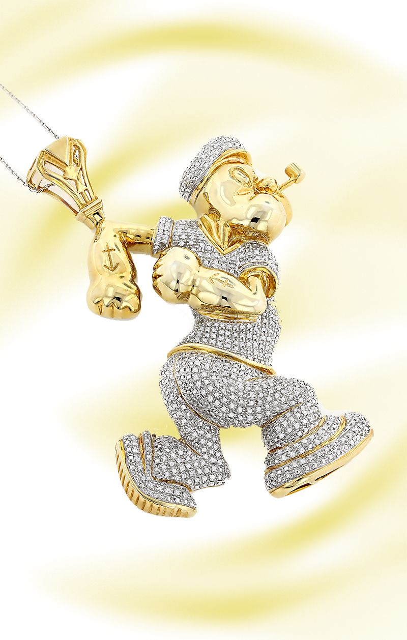 Custom diamond popeye pendant in sterling silver 4ct gold plated custom diamond popeye pendant in sterling silver 4ct gold plated aloadofball Images