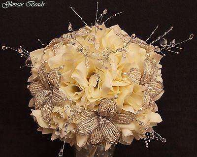 BEADED-LILY-Bridal-Bouquet-Wedding-Flower-17-Piece-Set-Ivory-Silver-Beads-Silk