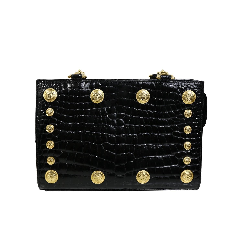 06bb5a9857f1c Gianni Versace Couture Black Medusa Chain Shoulder Bag