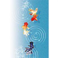 金魚の暑中お見舞い背景無料イラスト 夏 金魚 アート 金魚 花 イラスト