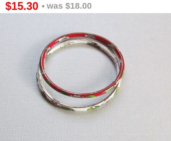 Cloisonne Bangles Red and White Floral Enamel by vintagepaige