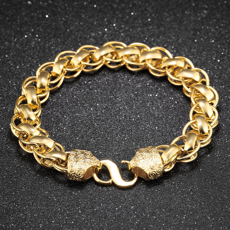 Fashion k gold jewelry women men mm link chain bracelet bangle