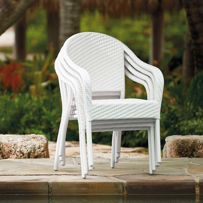 Cafe Curved Back Stacking Chairs, Set of Four Wicker