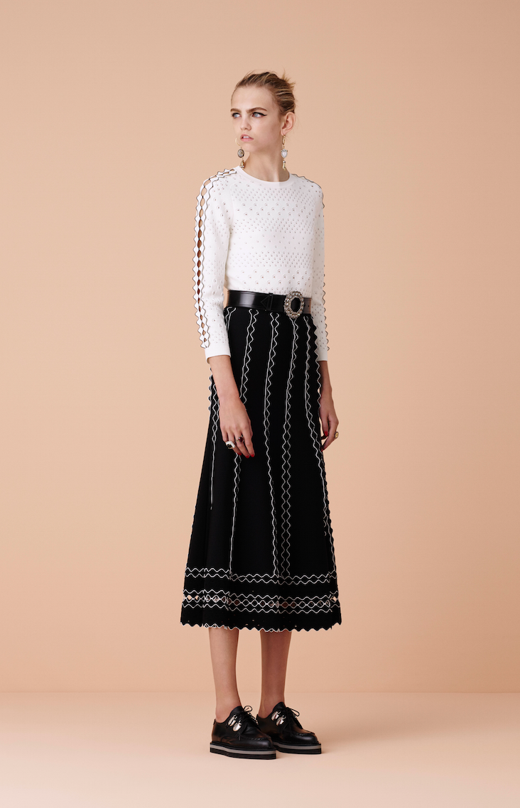 With the excitement surrounding Alexander McQqueen's return to LFW - look to the label's pretty scalloped-edge separates for elegant daywear.