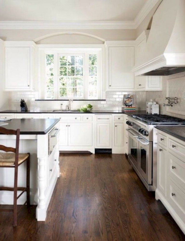 41 Comfy White Kitchen Dark Floors Ideas Page 6 Of 43 White Kitchen Dark Floors Dark Countertops Vinyl Flooring Kitchen