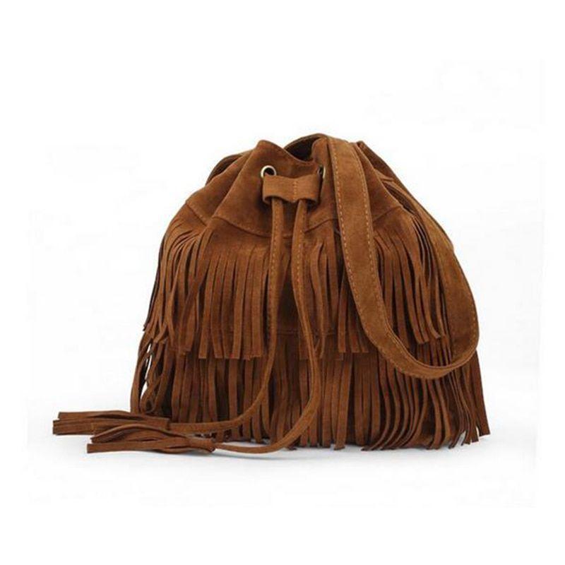 Vintage Lady Tassel Fringe Drawstring Bucket Shoulder Bag Messenger Handbag