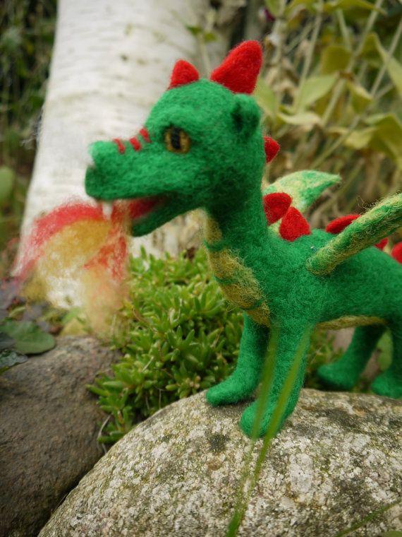 Items similar to needle felted dragon, waldorf dragon, felt green dragon, felted fairytale dragon, green dragon, miniature dragon, fairytale sculpture on Etsy
