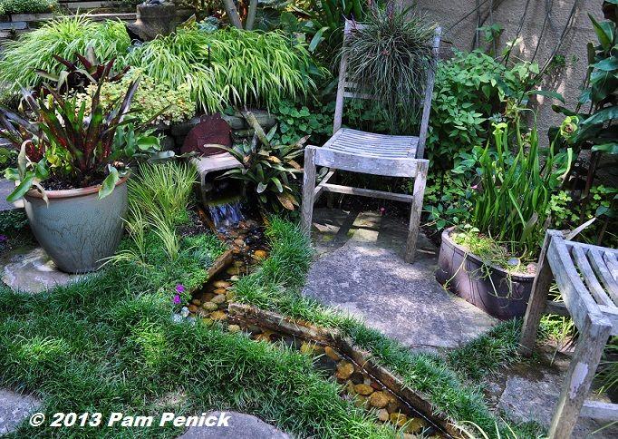 Zigzag Stream With Dwarf Mondo Grass And Small Patio    Love! Nichols Garden :