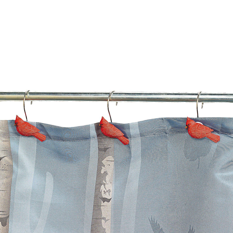 Cardinal Shower Curtain Hooks Orientaltrading Com Bird Shower