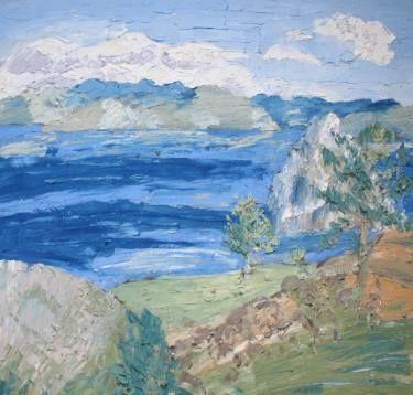 #SaatchiArt @SaatchiArt #ArtistOfTheDay   #Fresco #art #Mural #expressionism #modernism #textured #paintings #creative #painting #artists #color #Cherepanova #Contemporaryfresco #Aleksandra #artwork #water #nature #mountains  #nature #tree #trees #landscape #landscapes #Baikal  #Lake